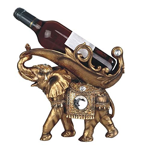 George S. Chen Imports Golden Thai Elephant Wine Holder 11 1/4
