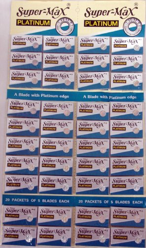 Super-max Razor Platinum Blades 20 Tucks of 5 Blades Each (Super Max Razor Blade)