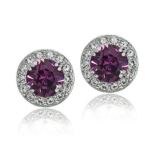 Bria Lou 925 Sterling Silver Crystal Birthstone Color Round Halo Stud Earrings Made with Swarovski Crystals, 10mm