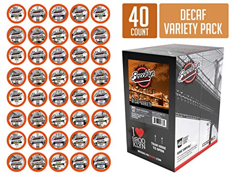 Brooklyn Beans Decaf Variety Pack Coffee Pods, Compatible with 2.0 K-Cup Brewers, 40 Count