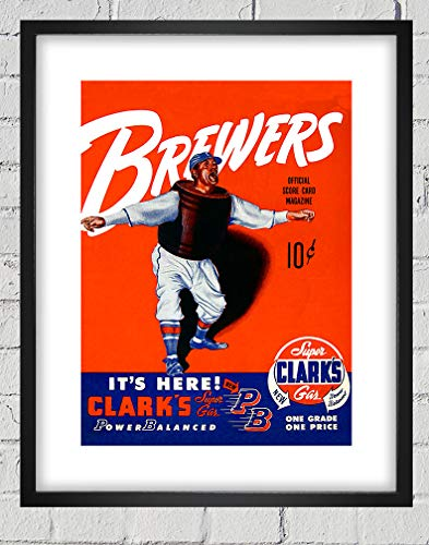 1951 Vintage Milwaukee Brewers Baseball Program Cover - Digital Reproduction - Print or Matted Print or Framed Matted Print