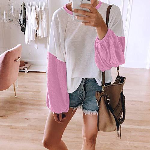 Sexy Patchwork V Femme Couleurs Tunique Casual LEvifun Blouse Mode Chemise T Ample Automne Hauts Col Femme Chic Tops Shirt Dames Longues Manches Chemisier Pullover Rose qq684v