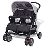 Festnight Baby Twin Stroller Buggy Pram Lightweight Foldable Baby Infant Travel Pushchair - Grey and Black, 93x68x103 cm