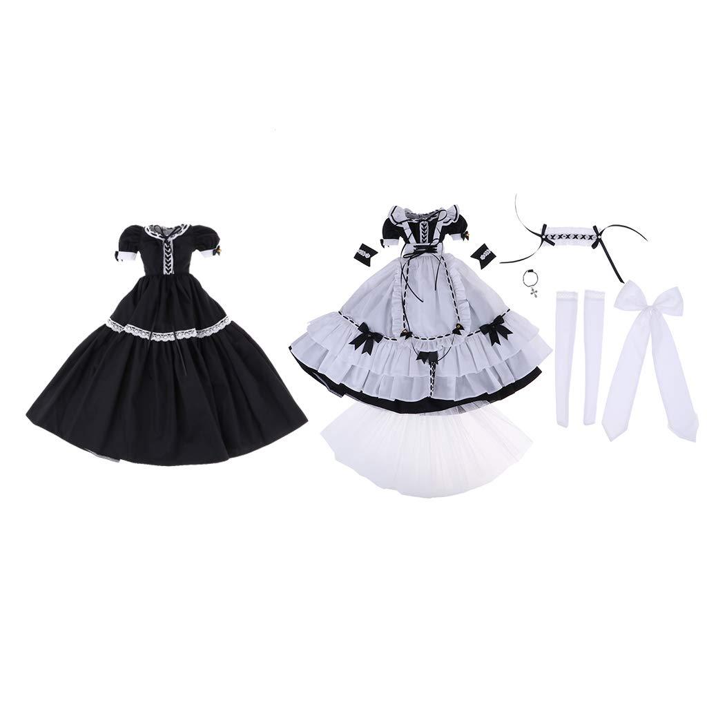 Baoblaze Trajes Mini Juegos Dressup Parte Personalizada para Muñeca Niña Escala 1/3 - Blanco + Negro