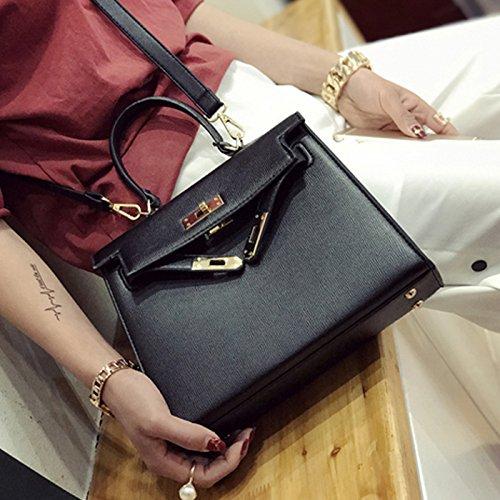 à Epaule main Noir de bandoulière fille CHNHIRA Femme verrouillage sac sac sac métal de de Kelly axCxvIFqw