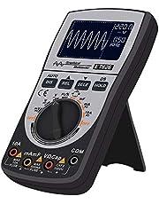 Gecheer Osciloscopio digital inteligente 2 en 1 Multímetro Resistencia de voltaje de corriente CC/CA Probador de diodos de frecuencia 4000 cuentas 20KHz Ancho de banda analógico 200Ksps Velocidad