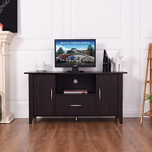 TANGKULA Modern TV Stand Wooden Multipurpose Home Furniture Storage Console Cabinet Entertainment Media Center with Shelf and Drawer