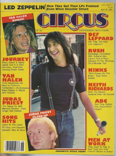 Circus Rock Magazine 30 April 1983 Van Halen Led Zeppelin Judas Priest Def Leppard RUSH Kinks Rolling Stones ABC (Circus Magazine) ()