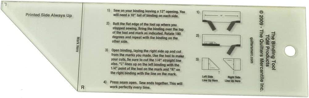 """Binding Tool TQM Products for 2.5/"""" Quilt Binding//Includes Instructions on Tool"""