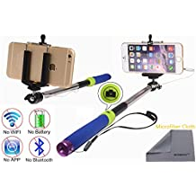 Wonbsdom Extendable Cable Control Built-in Remote Self-portrait Stick Monopod-Blue[No Bluetooth Matching & Battery Free]with Adjustable Phone Holder for Smartphones iPhone6 5 5s 5c 4s 4 Samsung Galaxy S5 S4 S3 Note4 3 2 Sony HTC,Nokia,etc.(V)