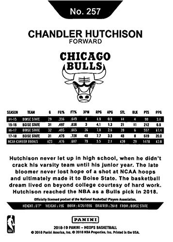 Amazon.com: 2018-19 Panini Hoops #257 Chandler Hutchison Chicago Bulls RC Rookie NBA Basketball Trading Card: Collectibles & Fine Art