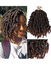 6 Packs Lente Twist Haar 10 Inch Ombre Pre-Twisted Passion Twists Gehaakte Vlechten Lente Twists Korte Krullende Bom Twist Vlechten Haarextensies