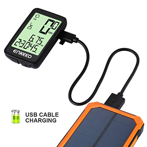Enkeeo Wired Bike Computer USB Rechargeable Bicycle Speedometer Odometer with 12 Hour Backlight Display, Current/AVG/MAX Speed Tracking, Trip Time/ Distance Recording for Cycling by Enkeeo (Image #2)