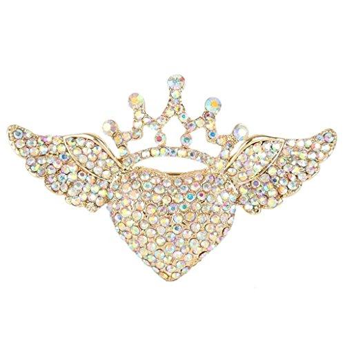 - EVER FAITH Austrian Crystal Romantic Love Heart Angel Wing Crown Brooch Iridescent Clear AB Gold-Tone