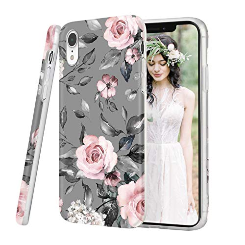 iDLike iPhone Xr Case for Girls Women, Floral Flower Cute Design Soft Silicone Protective Phone Case Cover with Pink…