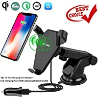 iAnkey Qi Fast Wireless Car Charger,Car Mount Air Vent Phone Holder Charging for Samsung Note 8,S8/S8 plus,S7/S7 Edge,S6 Edge plus,Note 5 and iPhone X,iPhone 8/8 Plus Compatible All Qi-enabled devices