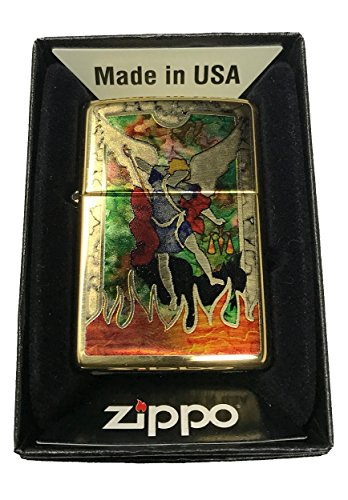 Zippo-Custom-Lighter-St-Michael-Archangel-Fusion-High-Polish-Brass