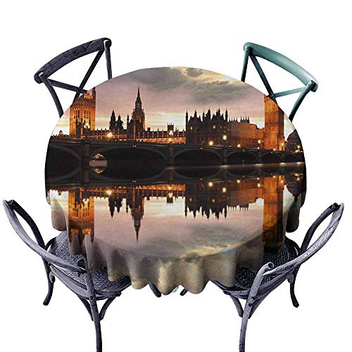 VIVIDX Fashions Table Cloth,Urban,Surreal Evening at Big Ben London Historical Architecture British Town UK Scene,Table Cover for Kitchen Dinning Tabletop Decoratio,55 INCH,Cinnamon -