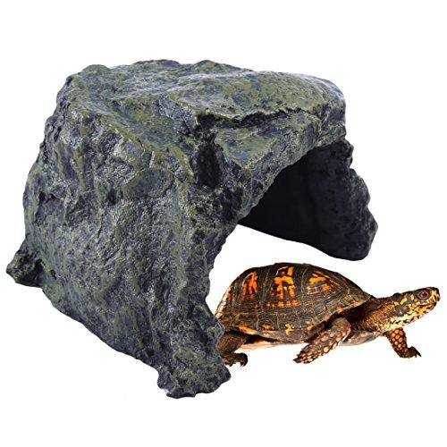 Petforu Reptile Hideaway Cave Pet Habitat Décor Rock Fish Tank Decoration (Large) by Petforu