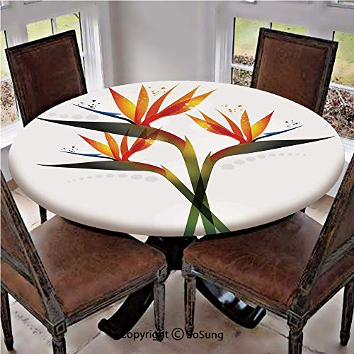 - Elastic Edged Polyester Fitted Table Cover,Ombre Colored Botanic Tropical Garden Plant with Abstract Dots Artwork,Fits up to 36