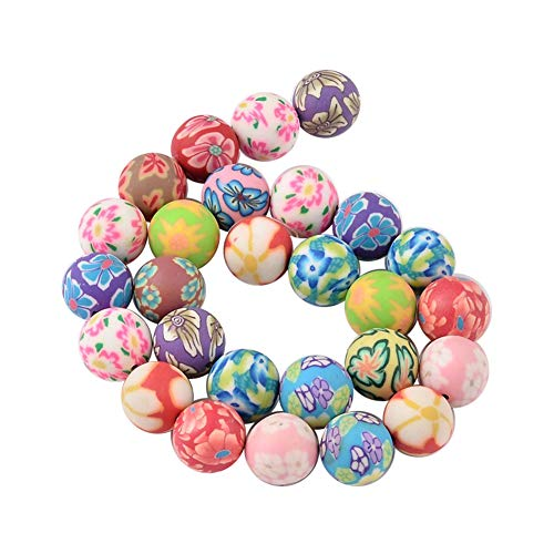 NBEADS 10 Strands of 14mm Assorted Colorful Fimo Polymer Clay Round Flower Printed Charm Beads for Jewelry Making