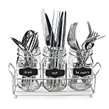 3-pc Mason Jar Flatware Caddies - 17 Oz. Vintage Clear Glass Utensil Organizer with Black Chalk Label on Metal Caddy with Handles - Lightweight Space-Saver Home and Party Drinkware Set