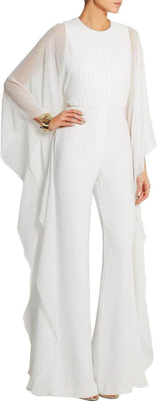 Womens Elegant Chiffon Jumpsuits Loose Long Wide Leg Club Party Jumpsuits Romper Party Jumpsuit Pant Suit