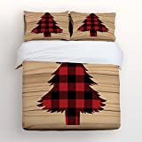 Libaoge 4 Piece Bed Sheets Set, Check Plaid Christmas Tree with Rustic Old Barn Wood, 1 Flat Sheet 1 Duvet Cover and 2 Pillow Cases