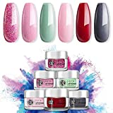 Dip Powder Set for Nail Art 0.83oz, Dipping Powder for Starter with 6 Dip Powder Colors for French Nail Manicure Nail Art