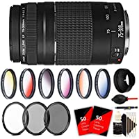 Canon EF 75-300mm f/4-5.6 III USM Lens + Accessory Kit for Canon SL1 20D 60D 6473A003