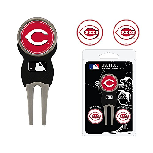 Team Golf MLB Cincinnati Reds Divot Tool with 3 Golf Ball Markers Pack, Markers are Removable Magnetic Double-Sided Enamel