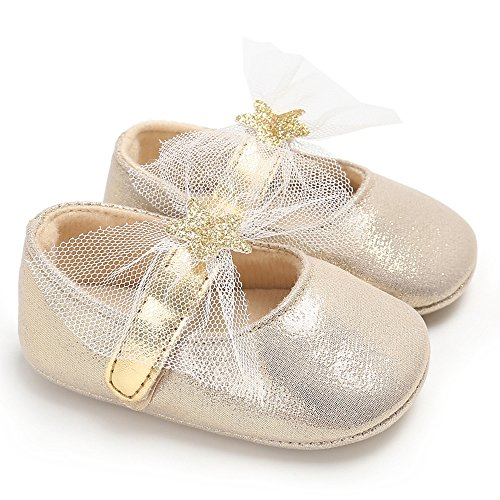 Royirene Newborn Baby Girls Bling Gold PU Leather Soft Sole Anti-slip Infant Prewalker Toddler Sneaker Shoes 6-12 Months