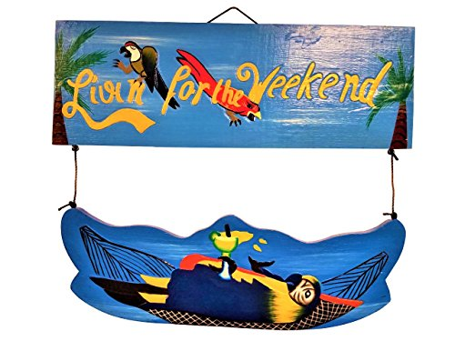 All Seas Imports UNIQUE 2 PIECE HANDCARVED WOOD LIVIN FOR THE WEEKEND WITH PARROT IN HAMMOCK! - Parrot Tiki Bar