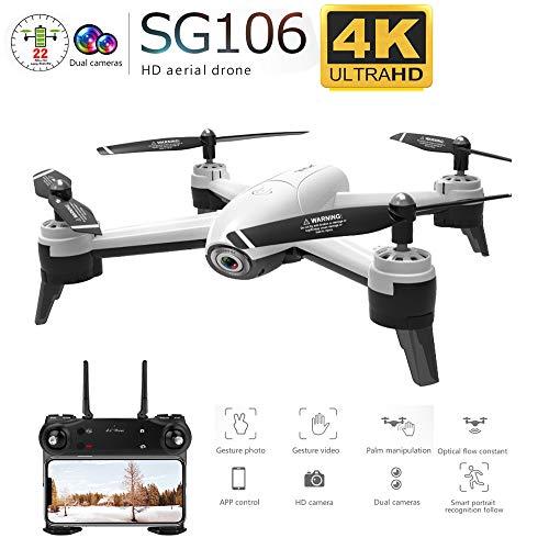 FairOnly SG106 RC Drone Flujo óptico 1080P 4K HD Cámara Dual Video aéreo en Tiempo Real Cuadricóptero RC Posicionamiento…