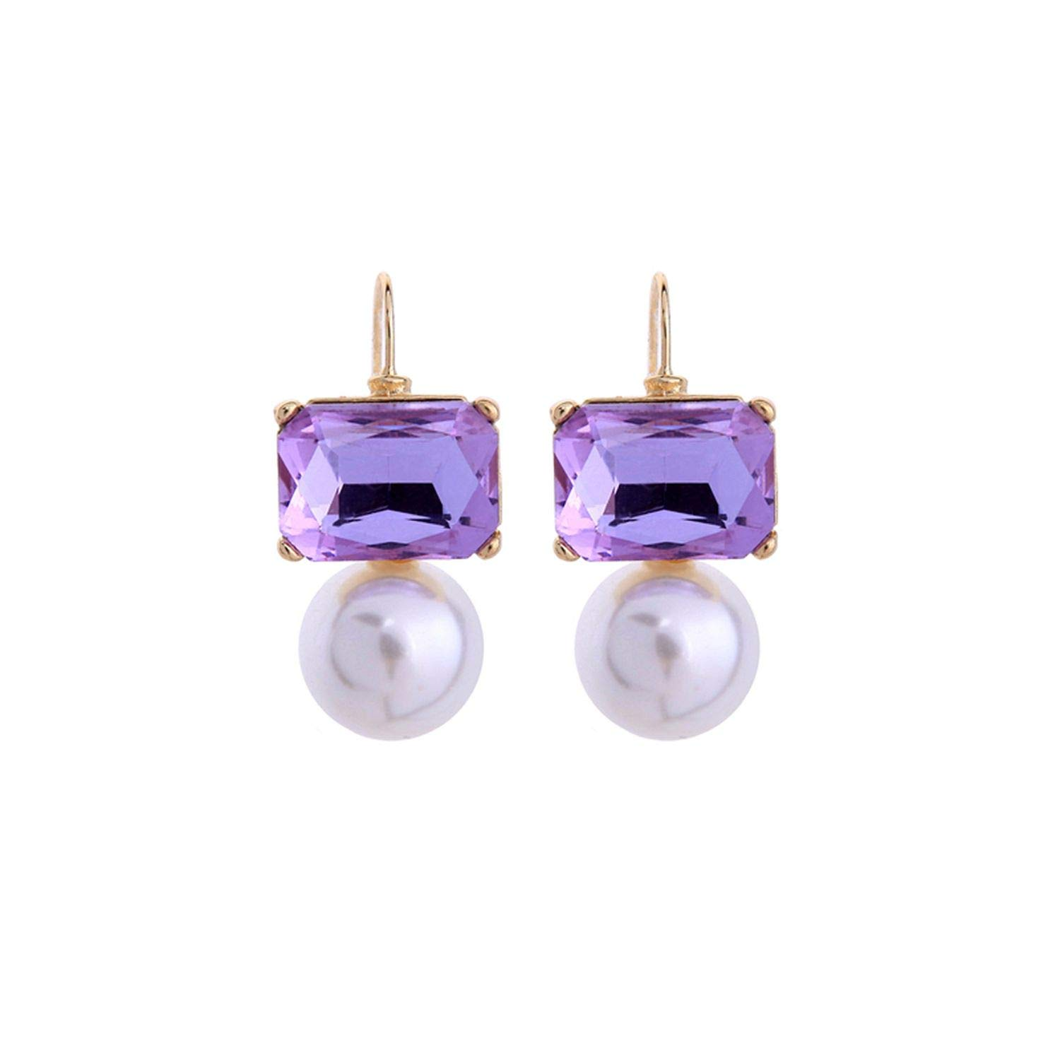 Champagne Purple Glass Drop Earring Pearl Earring Simple Earring Care