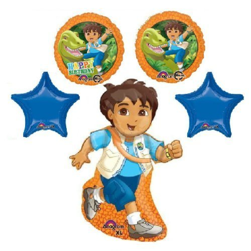 5 BALLOONS GO DIEGO BIRTHDAY dinosaur party supplies dora the explorer 1hb1pl by (Go Diego Go Birthday Party)
