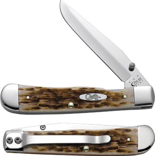 Pocket Clip Knife (Case Amber Bone CV Trapperlock Pocket Knife with Clip)