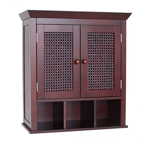 "Cane Wall Mounted Bathroom Cabinet with 3 Cubbies in Expresso Brown Finish Traditional Style 24"" H x 22.5"" W x 8.5"" D"