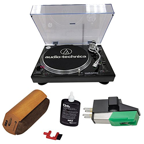 Audio-Technica Professional Stereo Turntable w/ USB LP to DIG Recording Piano Black (AT-LP120BK-USB) with RCA D4+ Vinyl Record Cleaning Fluid System and Audio-Technica Dual Magnet Phono Cartridge (Cartridge Vinyl)