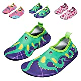 WXDZ Kids Water Shoes Swim Shoes Mutifunctional Quick Drying Barefoot Aqua Socks For Beach Pool US Toddler 7.5-8.5 M, Green Octopus 24/25