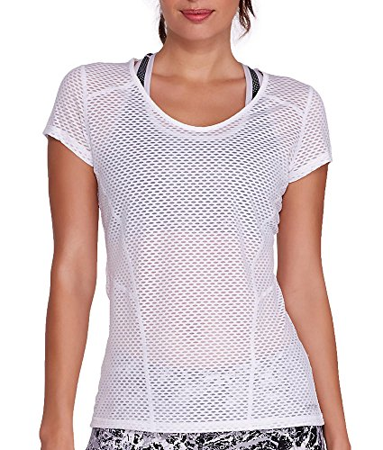 Calvin Klein Performance Women's Mesh Tee, White, Large