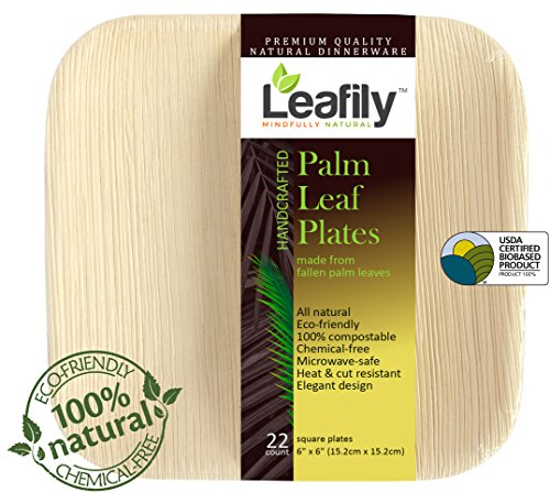Elegant Leaf (Leafily Palm Leaf Plates - 6 inch Square - Heavy Duty - Elegant - 100% Compostable - Better than Bamboo or Wood - Disposable - Biodegradable - Premium Party Plates - USDA Certified - 22 Count)