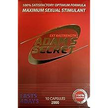 Adams Secret 2000 100% Natural Effective Male Libido Performance Enhancement- 10 Pills per Pack with Adam's Secret Original Inner Seal