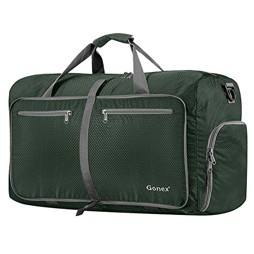 Gonex 80L Foldable Travel Duffle Bag for Luggage, Gym, Sport, Camping, Storage, Shopping Water Repellent & Tear Resistant Dark Green ()