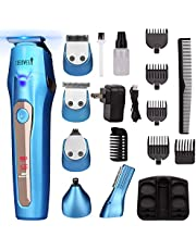 Ceenwes 5 In 1 Mens Grooming Kit Professional Rechargeable Beard Trimmer Hair Clippers Multi-Purpose Mustache Trimmer Mens Electric Shaver Waterproof Nose& Ear Body Trimmer For Men Father Husband Boyfriend