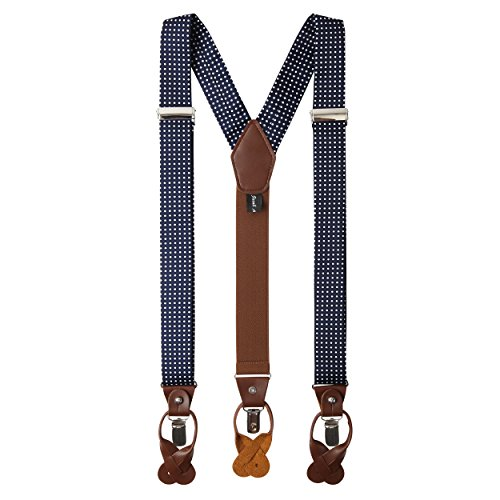 Jacob Alexander Men's Polka Dot Y-Back Suspenders Braces Convertible Leather Ends and Clips - ()
