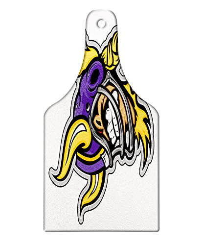 Lunarable Sports Cutting Board, Image of a Snarling American Football Viking Mascot with Horns Illustration, Decorative Tempered Glass Cutting and Serving Board, Wine Bottle Shape, Purple Yellow Grey