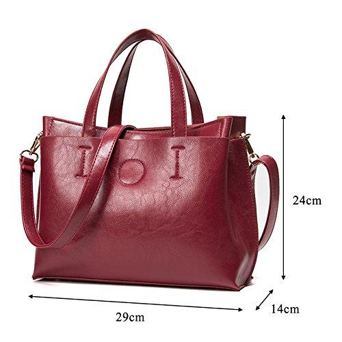 Damen LuxusSchultertasche Schwarz Handtasche für Fraun Henkeltasche Leder Umhängetasche Schwarz Blau Rot