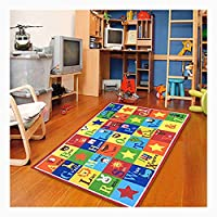 Furnish my Place Kids Rug ABC Animals Children Area Rug Anti Skid Actual Size
