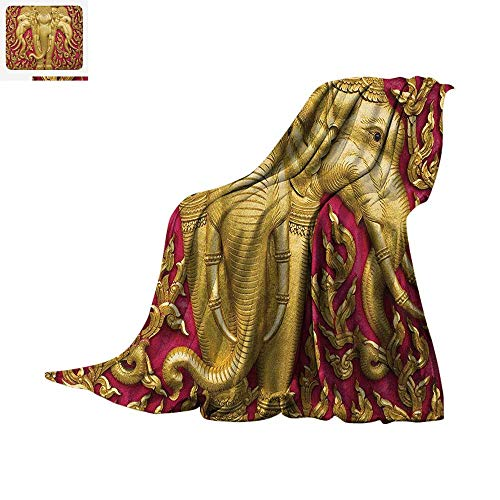 Elephant Digital Printing Blanket Elephant Carved Gold Paint on Door Thai Temple Spirituality Statue Classic Oversized Travel Throw Cover Blanket 60